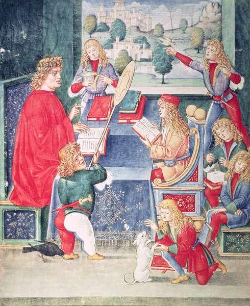 Ms 2167 f.13v Maximilian Sforza attending to his lessons, Lombard, from 'Donatus Grammatica' (vellum)