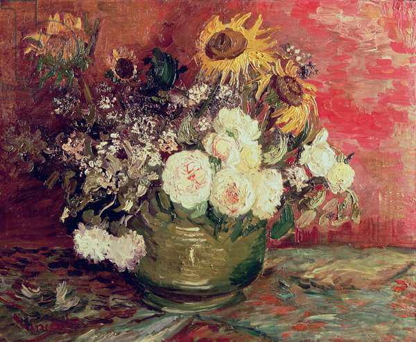 Sunflowers, Roses and other Flowers in a Bowl, 1886 (oil on canvas)