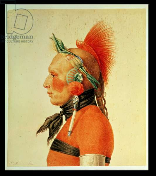 An Osage Warrior, 1804 (colour litho)