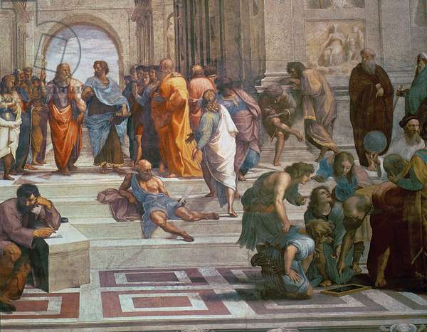School of Athens, detail from right hand side showing Diogenes on the steps and Euclid, 1510-11 (fresco) (detail of 472)