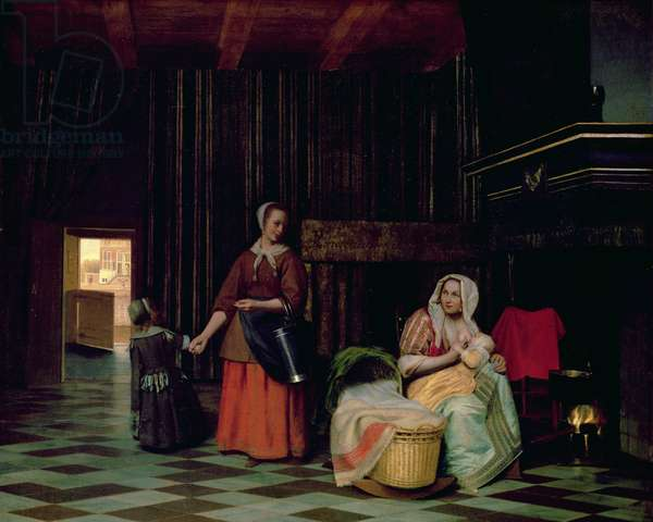 Woman with child and maid, 1663-65 (oil on canvas)