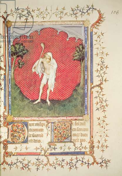 Fr 13091 f.106 The fool, from the 'Psalter of Jean de Berry', c.1386 (vellum)
