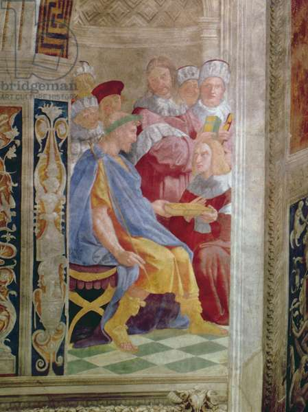 The Judicial Virtues: Pope Gregory IX approving the Vatical Decretals; Justinian handing the Pandects to Trebonianus (fresco) (detail of 845)