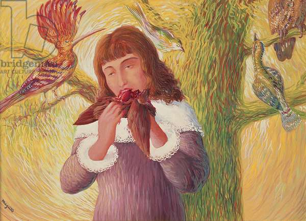 Young Girl eating a Bird, 1927 (oil on canvas)