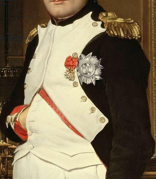Detail of Napoleon Bonaparte in his Study, 1812 (oil on canvas) (detail of PHD 320)