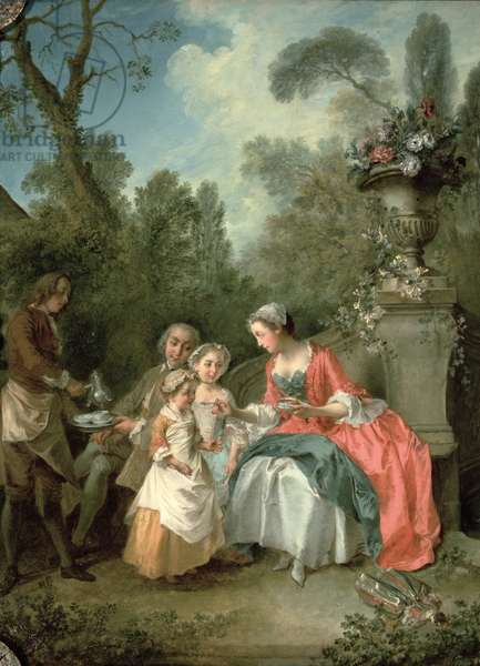 A lady and a gentleman in the Garden with two children c. 1742 (oil on canvas) (detail of 29887)