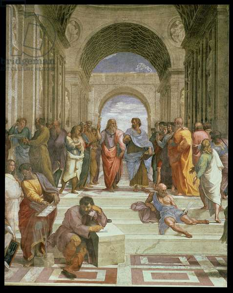 School of Athens, detail of the centre showing various figures including Plato, Aristotle, Michelangelo (as Heraclitus) and Diogenes, 1510-11 (fresco) (detail from 472)