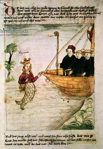 St. Brendan and a siren, from the German translation of 'Navigatio Sancti Brendani Abbatis', c.1476 (vellum)