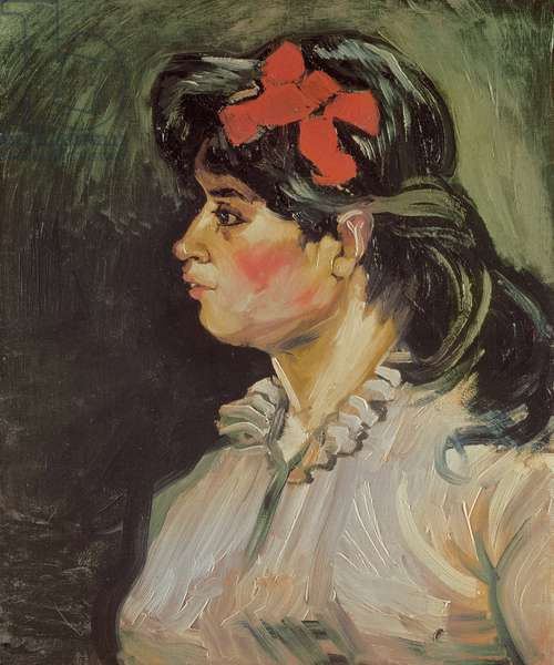 Portrait of a Woman with a Red Ribbon, 1885 (oil on canvas)