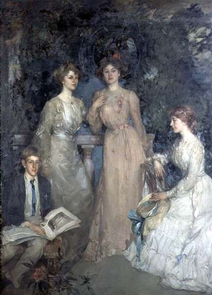 A Group Portrait of Robert, Gertrude, Phyllis and Jessie Lindsay Watson, 1903 (oil on canvas)