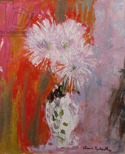 Flowers in a White Vase (oil on canvas)