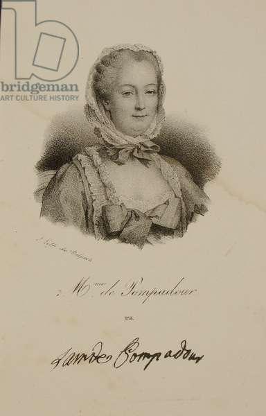 Portrait of the Marquise de Pompadour (1721-64) (litho)