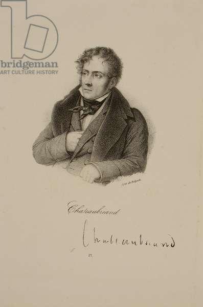 Portrait of Francois Rene (1768-1848) Vicomte de Chateaubriand (litho)