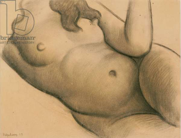 """Torso of a Woman: Study for the """"Liberated Earth with Natural Forces Controlled by Man"""" Mural at the Escuela Nacional de Agricultura (now the Universidad Autnoma), Chapingo, Mexico, 1925 (black chalk on light brown laid paper)"""