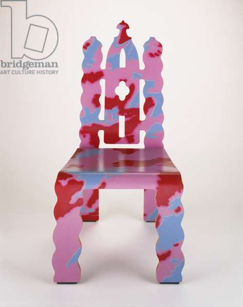 """Gothic Revival"" Chair, designed 1979-1984, made 1984 (bent laminated wood & painted plastic laminate)"