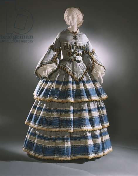 Woman's Dress with Day and Evening Bodices, c.1858 (silk taffeta & silk fringe)