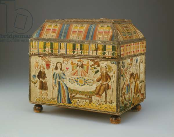 Box (Casket), 1686 (wood, silk satin with silk embroidery in satin, laid & couched stitches, silver gilt trim)