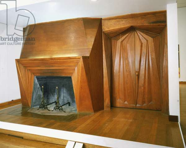 Fireplace and Doorway, 1936 (carved oak, stone, copper hearth)