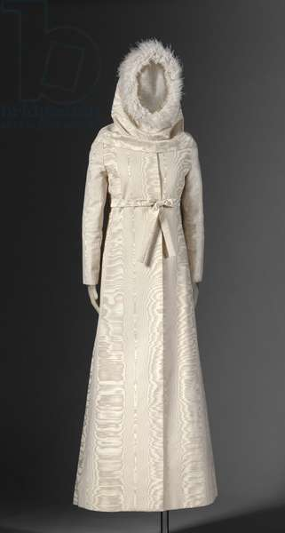 Wedding Dress and Hood, 1968 (silk and wool moir, ostrich feathers)