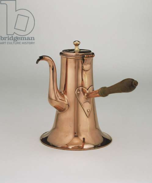 Coffeepot, c.1765-75 (copper and brass with wood handle)