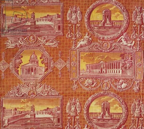 Printed Textile: 'Les Monuments de Paris', c.1816-18 (copperplate and block print on cotton plain weave)