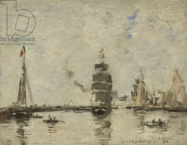 Boats in Trouville Harbour, 1894 (oil on panel)