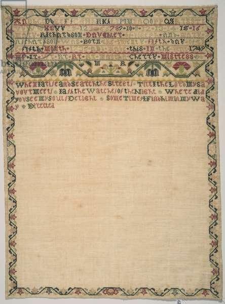 Sampler, 1749 (silk on canvas)