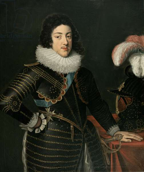 Portrait of a Man in Armour (possibly Louis XIII, King of France) (oil on canvas)