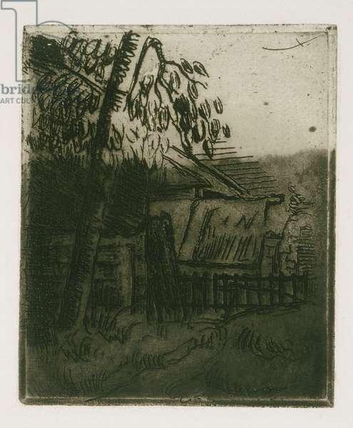 Landscape at Auvers (etching)