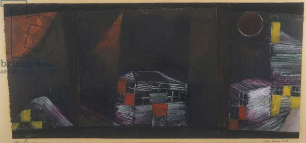 Three Houses Picture, 1921 (oil, gouache & varnish on three pieces of paper)