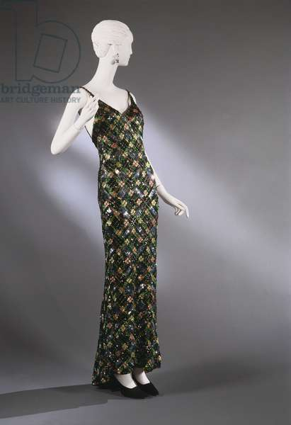 Woman's Evening Dress, 1957 (beads & sequins on cotton)