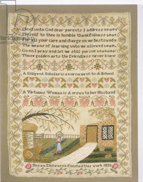 Sampler, 1825 (wool plain weave with silk embroidery)