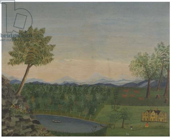 Connecticut Landscape, c.1830 (oil on ticking)