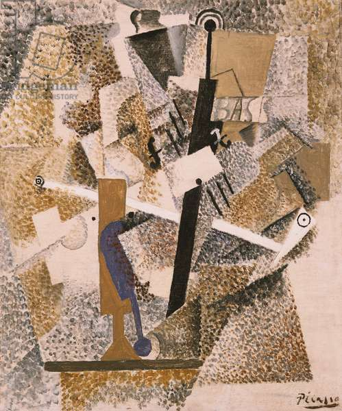 Still Life with a Pipe, a Violin, and a Bottle of Bass, 1914 (oil on canvas)