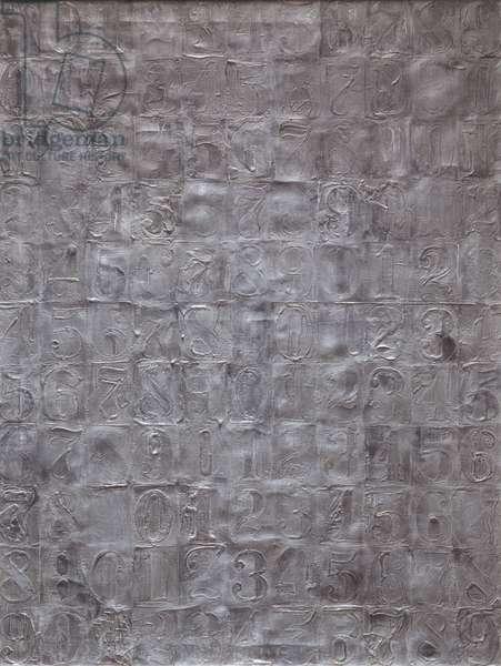 Sculpmetal Numbers, 1963 (sculpmetal on canvas)