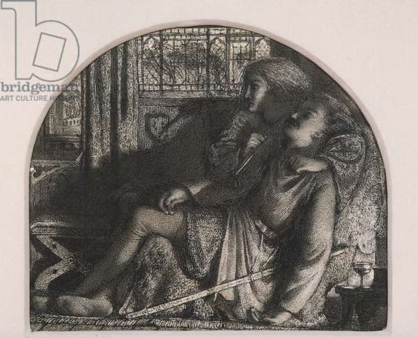 """""""I Rose Up in the Silent Night; I made my Dagger Sharp and Bright"""", c. 1859-60 (pen & ink over graphite with touches of heightening on ivory wove paper)"""
