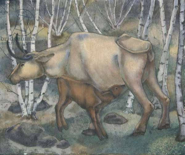 Cow and Calf, 1929 (oil on canvas)