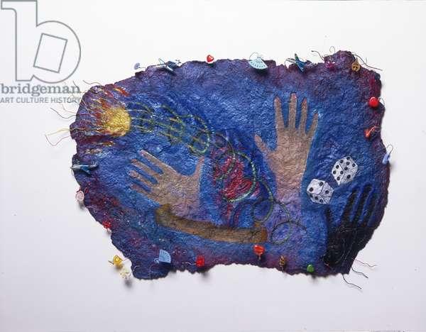 Ball of Fire, 1985 (paint, pastel, wire, plastic, metal, glitter & sequins on papier-mâché, on gauze)