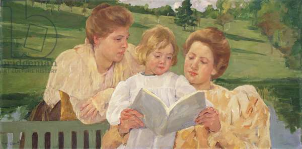 Family Group Reading, 1898 (oil on canvas)