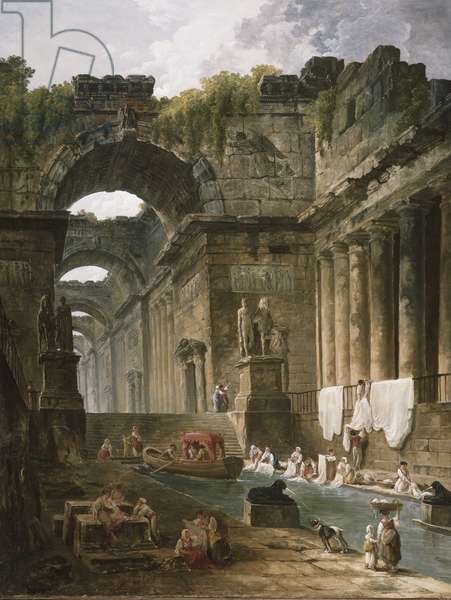 Ruins of a Roman bath with washerwomen, after 1766 (oil on canvas)