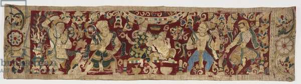 Embroidered Band, c.1550-1650 (cotton plain weave with silk embroidery in brick & chain stitches)