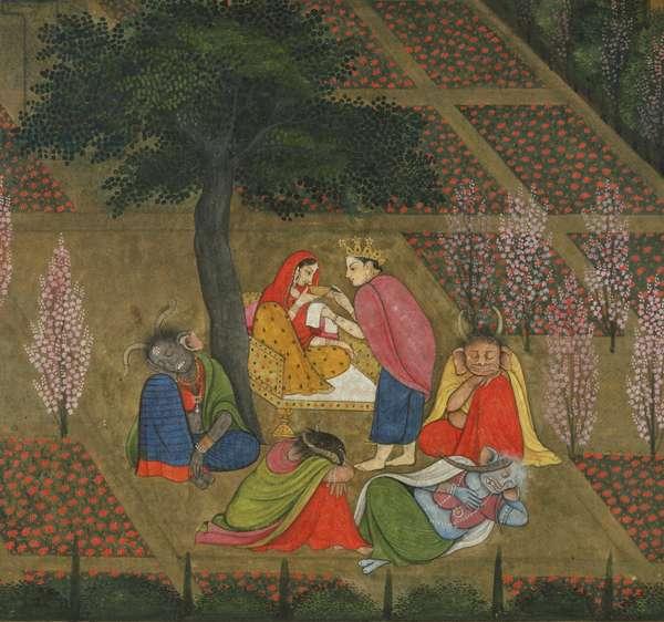Indra Visits Sita in Ravana's Garden, c. 1775-80 (opaque w/c & gold on paper)