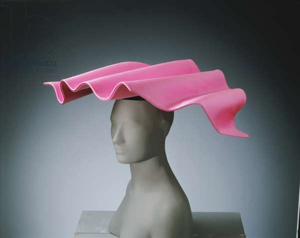 Woman's Hat, 1988 (pink synthetic satin & black synthetic velvet)
