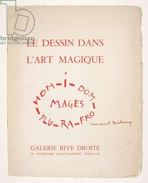 """Le Dessin dans l'art magique,"" Galerie Rive Droite, 23, Faubourg Saint Honoré, Paris, October 21 to November 20, 1958, 1958 (paperbound exhibition catalogue)"
