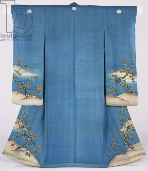 Woman's Kimono, Edo Period (printed & embroidered silk crepe)