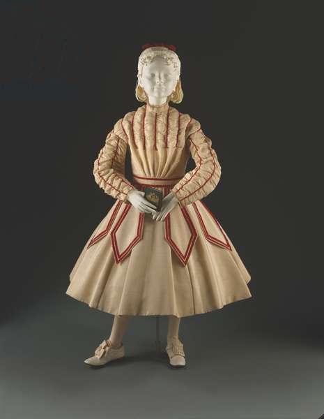 Girl's Dress, c.1867-68 (cotton, wool, silk, velvet & lace)