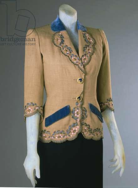 Afternoon Jacket, Summer 1940 (linen, velvet, silk & metallic thread embroidery)