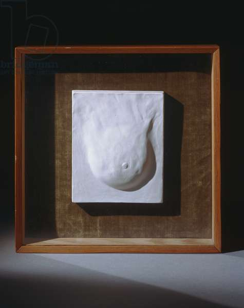 "Study for ""Prière de toucher (Please Touch) 1947 (plaster mounted on velvet in wood and glass frame)"