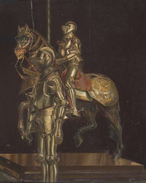 Display of Suits of Armour, Musee de l'Armee, Paris (oil on panel)