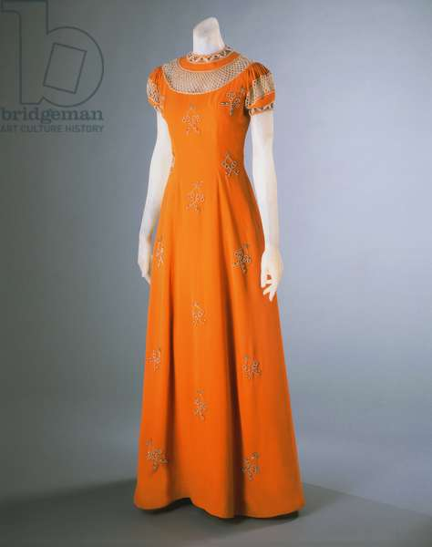 Dinner Dress, Summer 1939 (rayon crepe, metallic thread embroidery, pearls & seed beads)